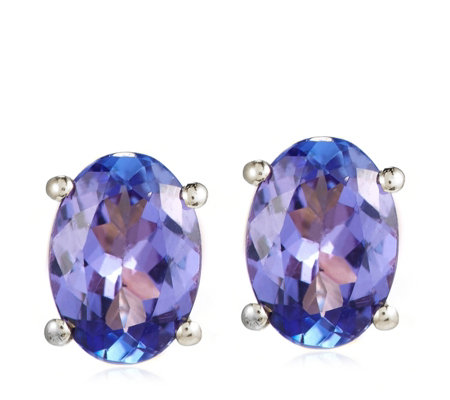 1.00ct AA Tanzanite Oval Solitaire Stud Earrings 18ct Gold