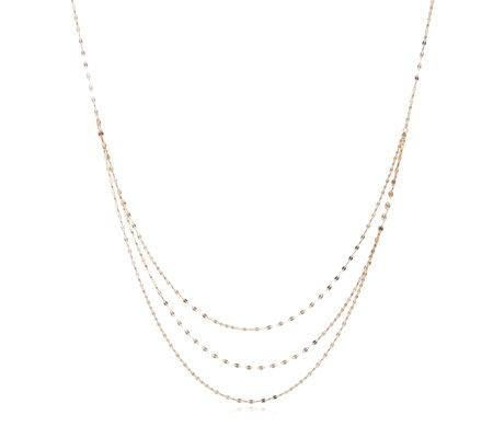 9ct Gold Triple Row Mirror 43cm Necklace