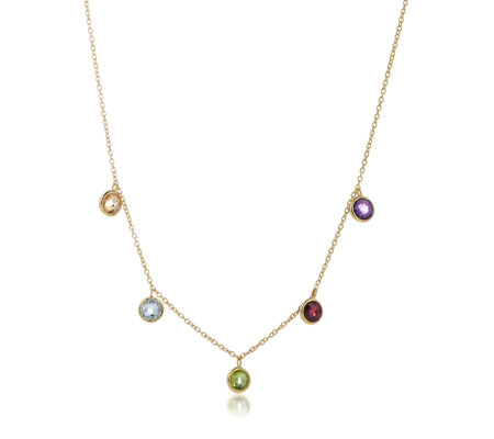 Lisa Snowdon Multi Gemstone Rainbow Charm 50cm Necklace Sterling Silver