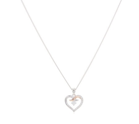 Clogau 9ct Rose Gold & Sterling Silver Clogau Kiss Zircon Pendant