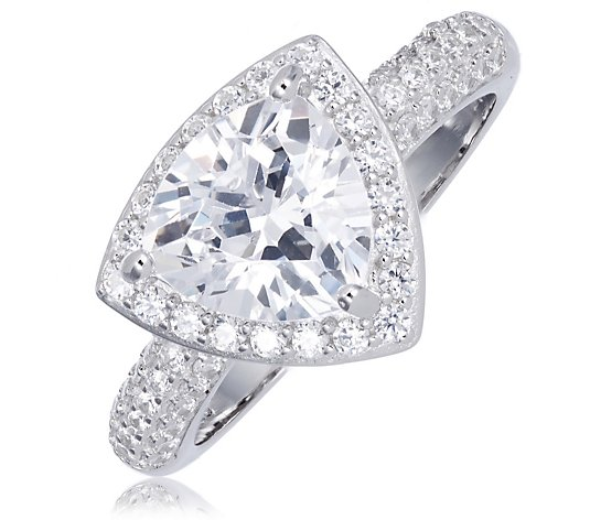 Michelle Mone for Diamonique 5ct tw Trillion Cut Solitaire Ring Sterling Silver