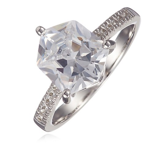 Diamonique 4.3ct tw Alpine Cut Solitaire Ring Sterling Silver