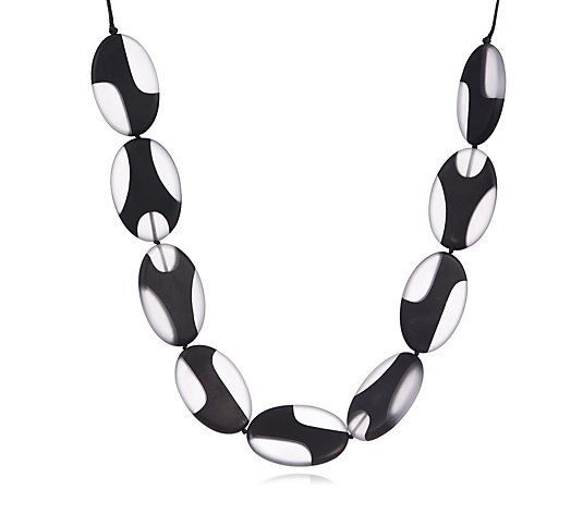 One Button Wavy Ovals 45cm Necklace