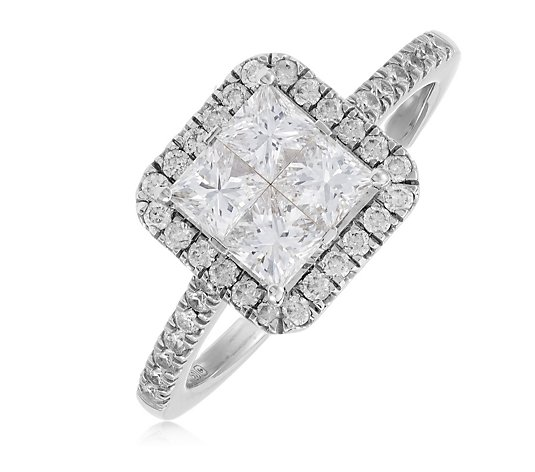1.30ct Diamond VS-SI Certified Seamless Halo Ring 18ct Gold