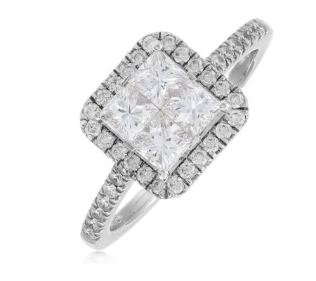 1.30ct Diamond VS-SI Seamless Halo Ring 18ct Gold