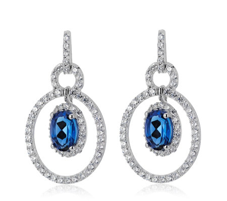 Diamonique 3ct tw Simulated Sapphire Drop Earring Sterling Silver