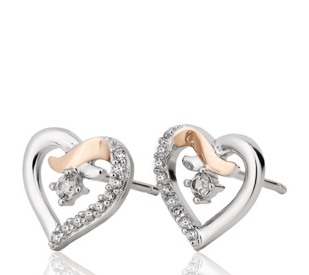 Clogau 9ct Rose Gold & Sterling Silver Kiss Zircon Stud Earrings