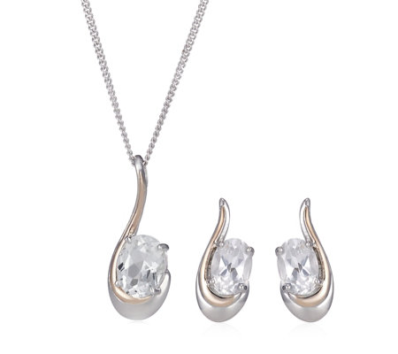 Clogau Serenade White Topaz Pendant & Stud Earrings Set Sterling Silver