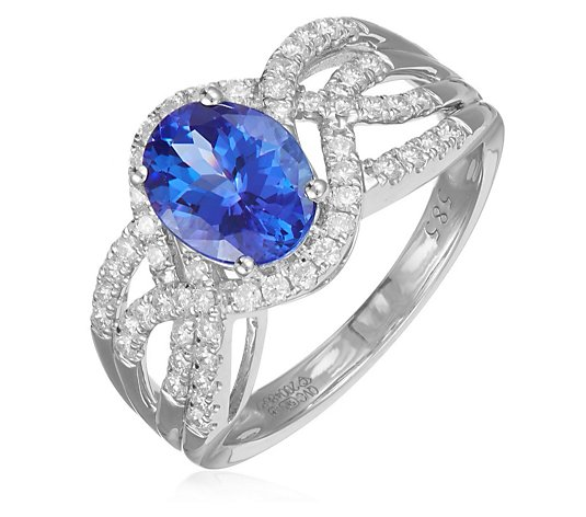 1.75ct AAA Certified Tanzanite Oval & 0.50ct Diamond Ring 14ct Gold