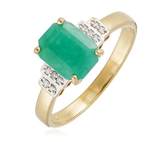 1.44ct Emerald & Diamond Ring Sterling Silver