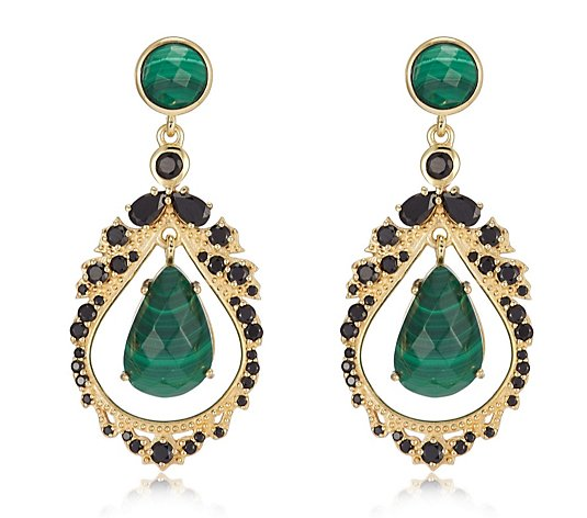 Hilary Joy Couture Gemstone Chandelier Drop Earrings Sterling Silver