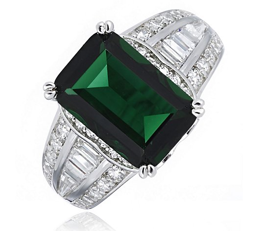 Diamonique 3ct tw Emerald Cut Ring Sterling Silver