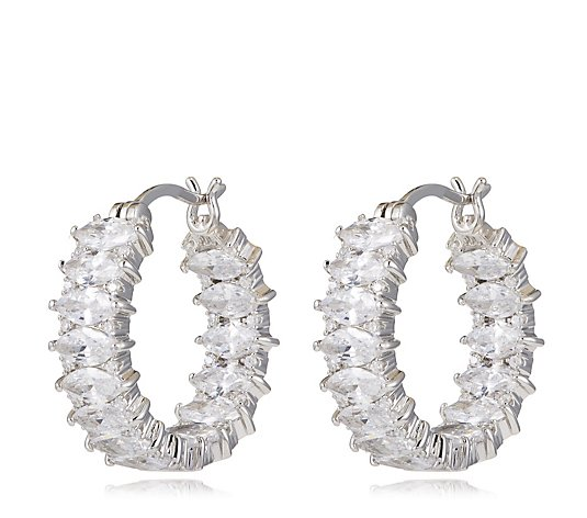 Michelle Mone for Diamonique 7ct tw Marquise Cut Hoop Earrings Sterling Silver