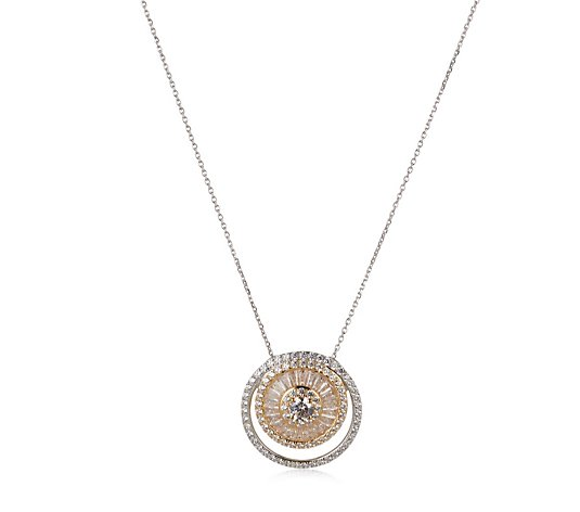 Diamonique 3ct tw Circle Mixed Cut Pendant & Chain Sterling Silver