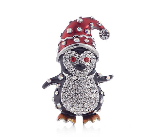 Butler & Wilson Crystal Penguin with Christmas Hat Brooch