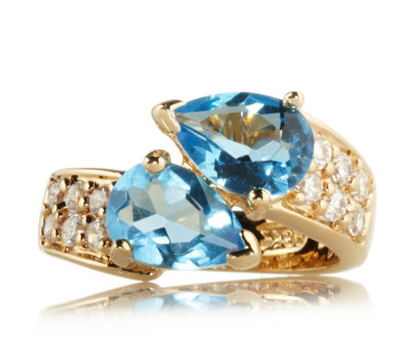 Jacqueline Kennedy Aqua Crystal Bypass Ring 18ct Gold Plate - QVC UK