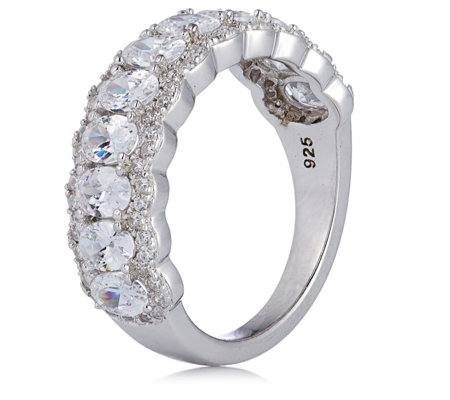 Diamonique 2.3ct tw Oval Halo Half Eternity Ring Sterling Silver