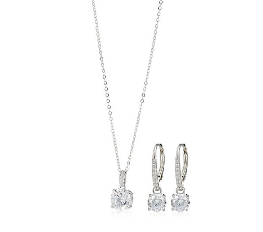 Diamonique 4ct tw Leverback Earrings Pendant & Chain Sterling Silver