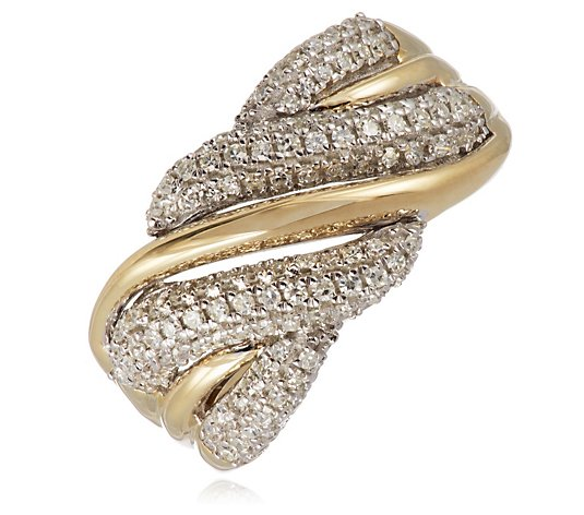 0.50ct Diamond Pave Twist Band Ring 9ct Gold