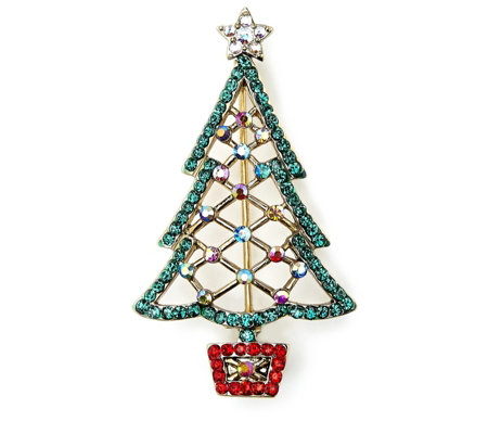 Butler & Wilson Cut Out Crystal Festive Tree Brooch