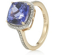 4.25ct AAA Tanzanite & 0.3ct Diamonds Cushion Cut Ring 18ct Gold - 309226