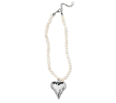 Frank Usher Heart Charm Simulated Pearl 43cm Necklace
