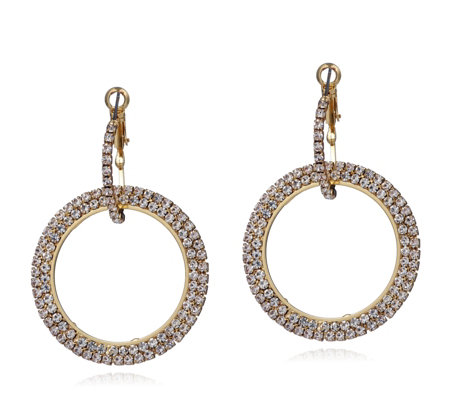 Loverocks Double Crystal Hoop Earrings