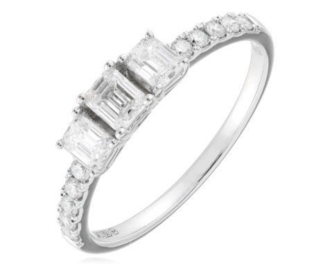 0.75ct Diamond VS-SI Certified Emerald Cut Trilogy Ring 18ct Gold