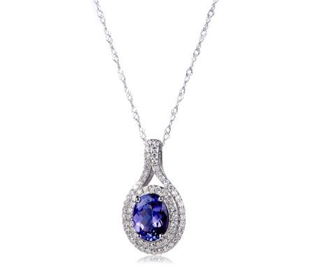 1.10ct AAA Tanzanite & 0.30ct Diamond 45cm Necklace 18ct Gold