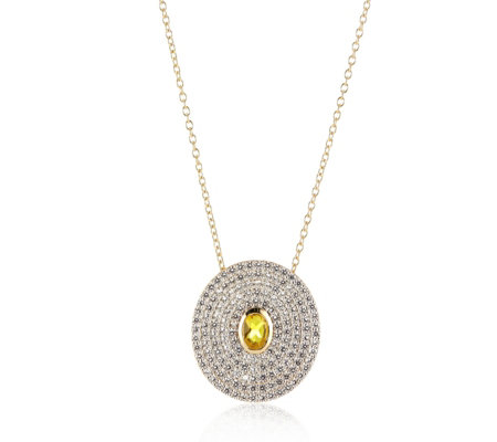 Diamonique 2ct tw Pave Circle Simulated Diamond Pendant & Chain Sterling Silver