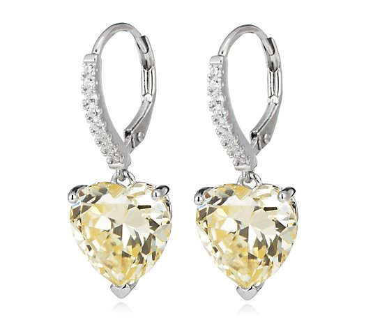 Michelle Mone for Diamonique 14ct tw Heart Leverback Earrings Sterling Silver
