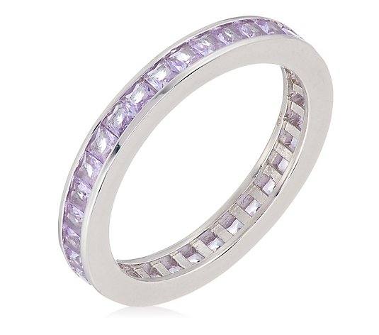 Diamonique 1.8ct tw Channel Set Eternity Ring Sterling Silver