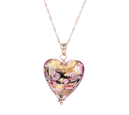 Murano Glass Floating Millerose Heart Pendant & Chain Sterling Silver