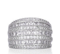 Diamonique 3.1ct tw Princess Cut Band Ring Sterling Silver - 330827