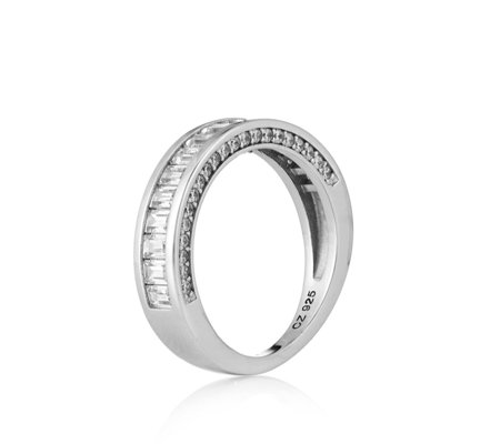 Michelle Mone for Diamonique 3ct tw Baguette Half Eternity Ring Sterling Silver