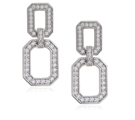 Diamonique 0.6ct tw Chain Link Pave Drop Earrings Sterling Silver