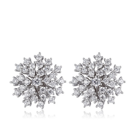 Diamonique 1.3ct tw Spray Cluster Stud Earrings Sterling Silver