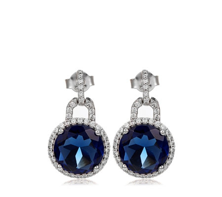 Diamonique 8.7ct tw Tanzanite Halo Drop Earrings Sterling Silver
