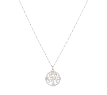Clogau 9ct Rose Gold & Sterling Silver Peridot Tree of Life Pendant