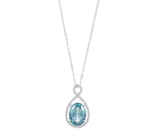 Diamonique 9.7ct tw Simulated Paraiba Necklace Sterling Silver