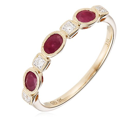 Outlet 0.60ct Ruby & 0.08ct Diamond Estate Collection Eternity Ring 9ct Gold
