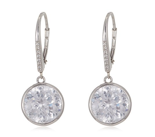 Diamonique 12ct tw 100 Cut Leverback Earrings Sterling Silver