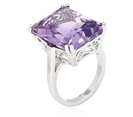 13.50ct Amethyst Radiant Octagon Cut Cocktail Ring Sterling Silver