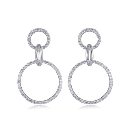 Diamonique 1.9ct tw Triple Circle Drop Earrings Sterling Silver