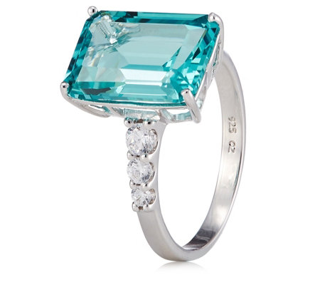 Diamonique 8.4ct tw Simulated Paraiba Tourmaline Ring Sterling Silver