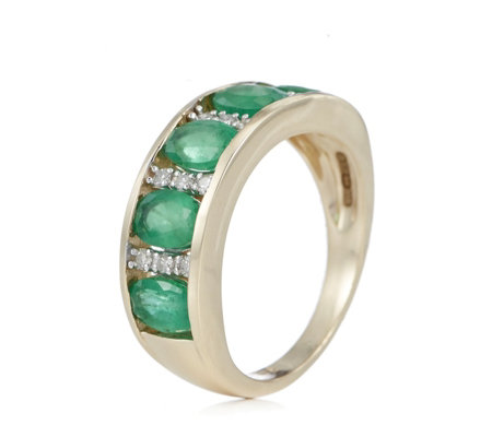 2.00ct Gemstone & 0.11ct Diamond Band Ring 9ct Gold