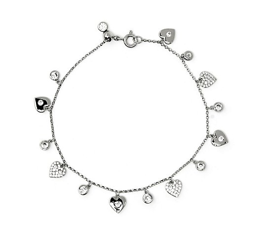 Diamonique 1.3ct tw Charm Friendship Bracelet Sterling Silver