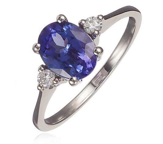 1.65ct AAA Tanzanite Oval & 0.14ct SI1 Diamond Accent Ring 14ct Gold