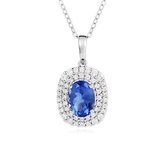 1.25ct AAA Tanzanite 0.30ct Diamond 45cm Necklace 18ct Gold