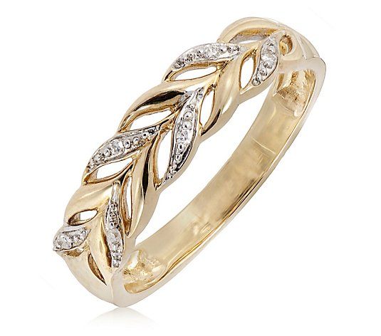 Diamond Set Leaf Band Ring 9ct Gold